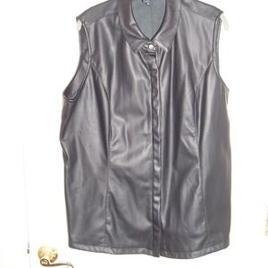 G BY GIULIANA RANCIC FAUX LEATHER SNAP VEST 2X NWO